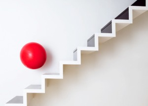 Red Ball Bouncing on Stairs