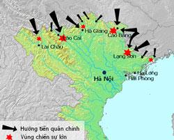 Chiến tranh biên giới Việt - Trung năm 1979. Trung Quốc đem quân tấn công Việt Nam trên toàn tuyến biên giới giữa hai nước (hướng mũi tên đen). Photo courtesy of wikipedia