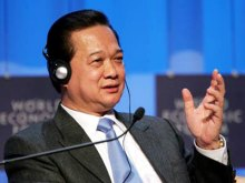 Thủ tướng thuyết trình tại Diễn đàn Kinh tế thế giới 2010 diễn ra từ 27 đến 31/1 tại Davos, Thụy Sĩ. Ảnh: AP