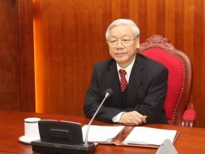 Tổng Bí thư Nguyễn Phú Trọng điện đàm với Tổng Bí thư, Chủ tịch Trung Quốc Tập Cận Bình. (Ảnh: Trí Dũng/TTXVN)
