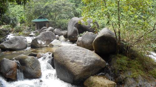 Những tảng đá lớn dọc bờ suối với nhiều hình thù lạ mắt
