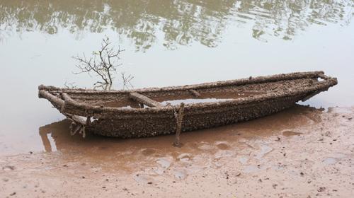 Con thuyền bị hà bao phủ trông như thuyền cổ