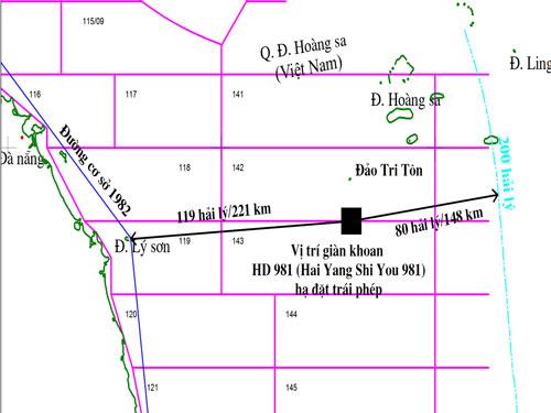 Bản đồ xác định vị trí giàn khoan HD-981 nằm bất hợp pháp trong vùng đặc quyền kinh tế, thềm lục địa của Việt Nam