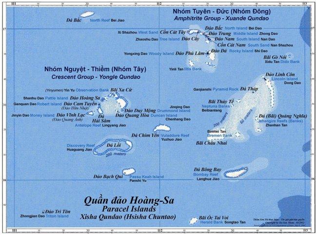 Quần đảo Hoàng Sa, thuộc lãnh thổ Việt Nam nhưng bị Trung Quốc chiếm đóng trái phép và tạm thời quản lý.