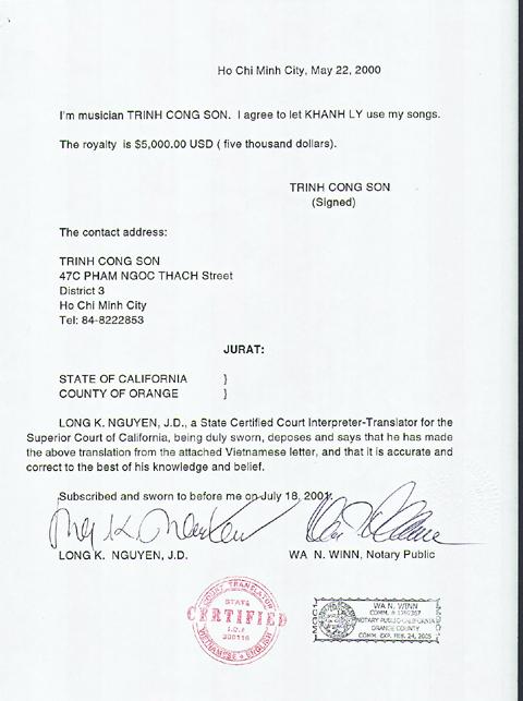Nội dung bằng tiếng Anh của giấy cho phép trên được công chứng bởi một tòa án Mỹ.