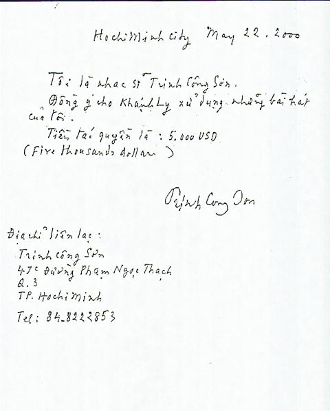 Giấy Trịnh ký nhận tác quyền và cho phép Khánh Ly biểu diễn nhạc phẩm của ông.