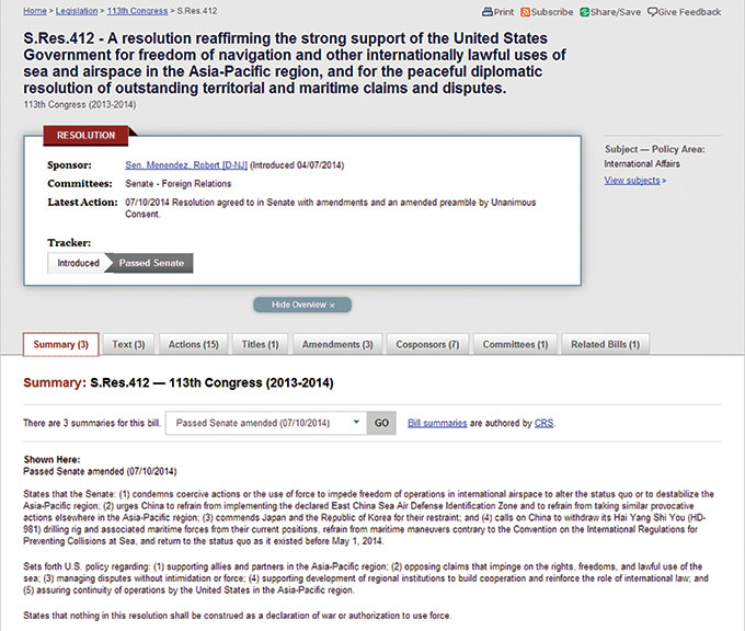 Nghị quyết 412 được Thượng viện Mỹ thông qua ngày 13-7-2014 khẳng định ủng hộ tự do hàng hải trong khu vực châu Á - Thái Bình Dương và giải quyết hòa bình các vấn đề trên biển Đông