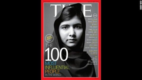 Malala là một trong bảy nhân vật được lên trang bìa của tạp chí Time trong top 100 có ảnh hưởng nhất vào tháng Tư năm 2013.