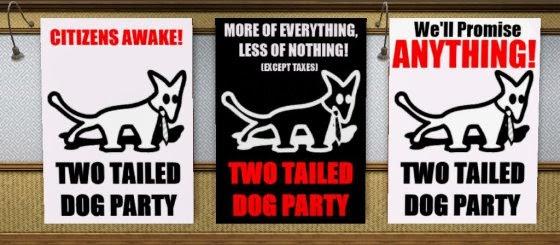 Poster của Chó Hai Đuôi (MKKP) - một tổ chức chính trị ở Hungary hiện chưa được đăng ký chính thức làm đảng, vì lý do tên gọi không nghiêm túc.