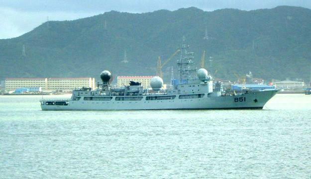 """Vừa tham gia tập trận RIMPAC do Mỹ chủ trì, song Bắc Kinh còn đưa vào thành phần hải đội tham dự một tàu do thám loại tương tự chiếc 851 này, mà phía Mỹ gọi là """"không được mời"""". Ảnh: usni.org"""
